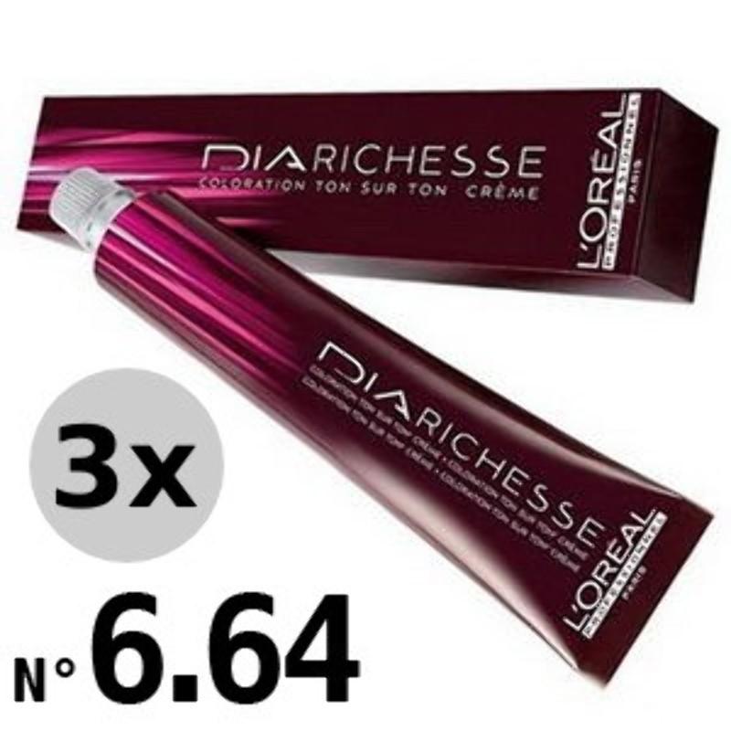 DiaRichesse 6.64 Blond foncé rouge cuivré - 3x50ml
