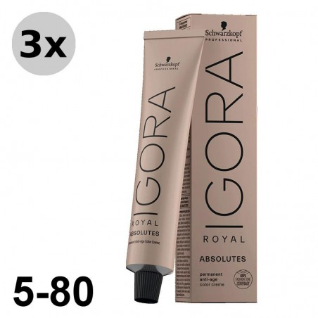 Igora Royal Absolutes 5-80 Châtain clair rouge naturel - 3x60ml